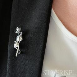 Broszka srebrna Róża