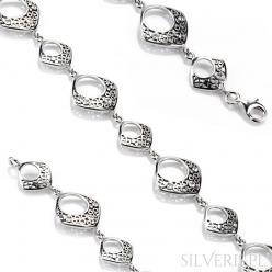 Bransoletka srebrna kwadraty z cyrkoniami