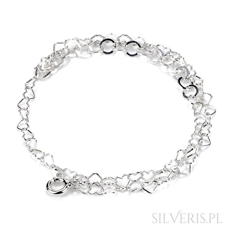 Nietypowy Okaz Bransoletka srebrna w kształcie serduszek-na rękę lub nogę od silveris GI34