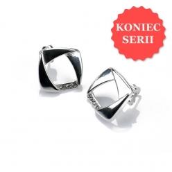 Kolczyki srebrne kwadraty z cyrkonią