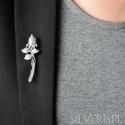 Broszka srebrna z cyrkoniami Kwiat do żakietu