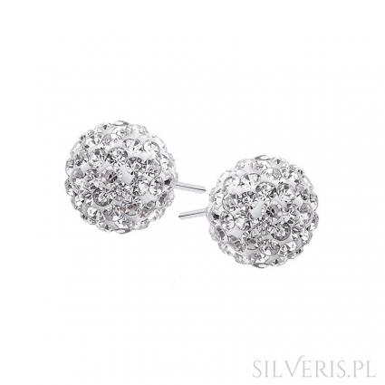 Kolczyki srebrne Crystal Białe