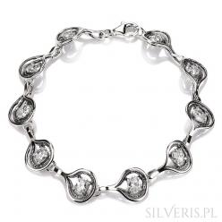 Bransoletka srebrna Krople z cyrkoniami