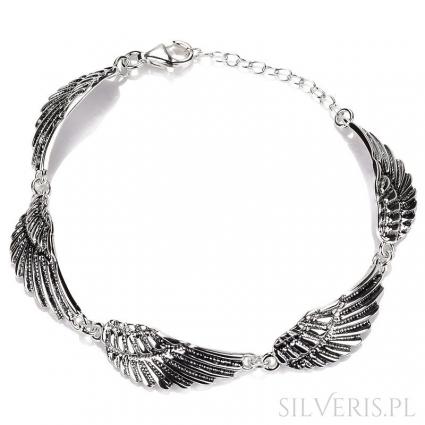 Bransoletka srebrna Skrzydła