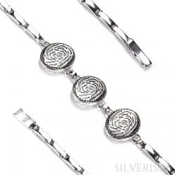 Bransoletka srebrna Róże