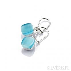Kolczyki srebrne kwadraty z uleksytem błękitnym