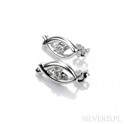 Kolczyki srebrne rybki z cyrkonią