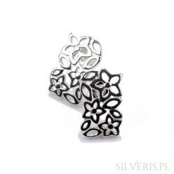 Kolczyki srebrne prostokątne z kwiatami