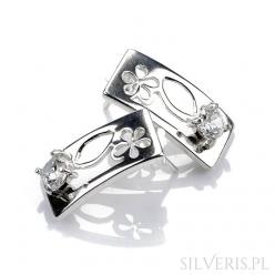 Kolczyki srebrne prostokąty kwiaty z cyrkonią