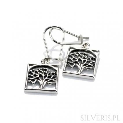 Kolczyki srebrne drzewko