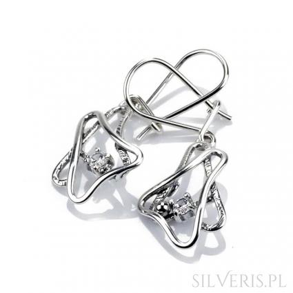 Kolczyki srebrne trójkąty z cyrkonią