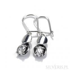Kolczyki srebrne bałwanki z cyrkonią