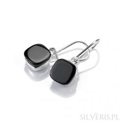 Kolczyki srebrne uleksyt czarny