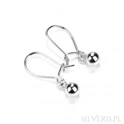 Kolczyki srebrne kulki bigiel ruchomy
