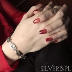 Bransoletka srebrna prostokąty ażurowe