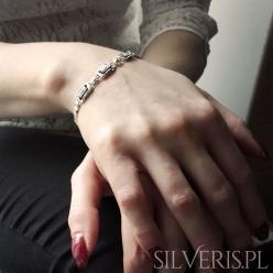 Bransoletka srebrna ramki z cyrkoniami