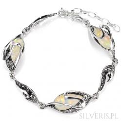 Bransoletka srebrna Opal Biały