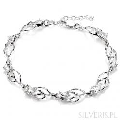Bransoletka srebrna kwiaty z cyrkonią