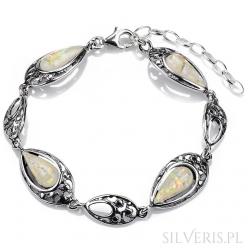 Bransoletka srebrna z Opalem Białym