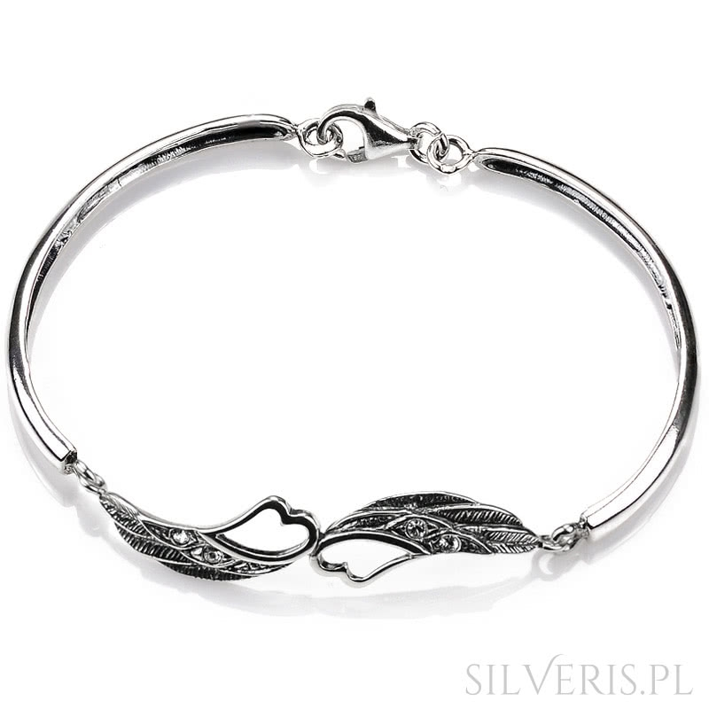 74d0dd3a4604d4 Bransoletka srebrna Skrzydła z sercem - polska biżuteria silveris.pl