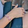 Bransoletka srebrna Opal Różowy w kształcie łezki