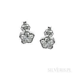 Kolczyki srebrne Kwiaty z Cyrkonią