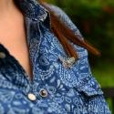 Broszka srebrna Motyl z cyrkonią do koszuli