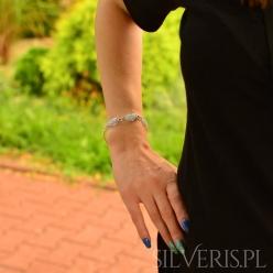 Bransoletka srebrna Krople Agat Blue Lace