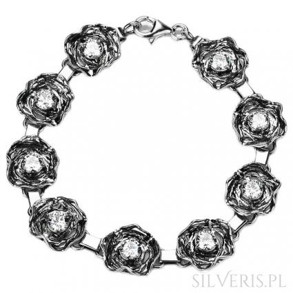 Bransoletka srebrna z Cyrkonią Flowers