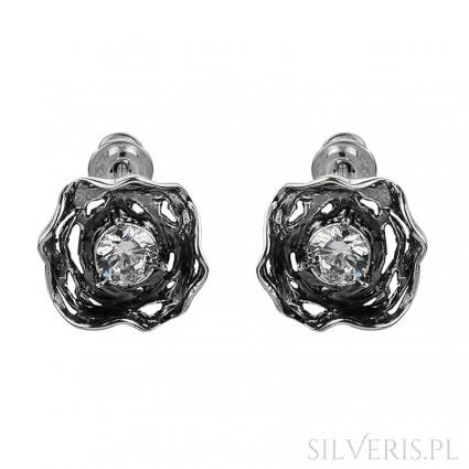 Kolczyki srebrne z cyrkonią Flowers