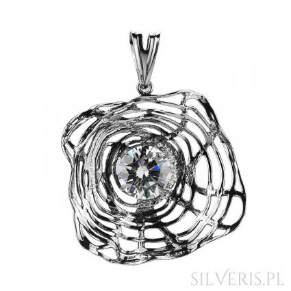 Zawieszka srebrna z Cyrkonią Flowers