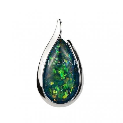 Zawieszka srebrna Kropla Opal Zielony