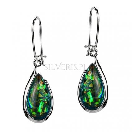 Kolczyki srebrne Kropla Opal Zielony