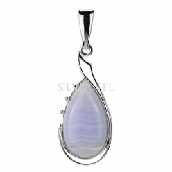 Zawieszka srebrna Kropla Agat Blue Lace