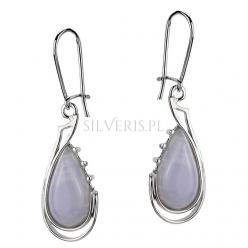 Kolczyki srebrne Krople Agat Blue Lace