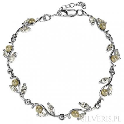 Bransoletka srebrna z Perłami i Cyrkoniami