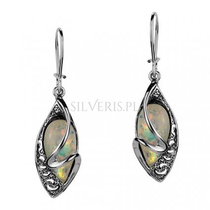 Kolczyki srebrne Opal Biały