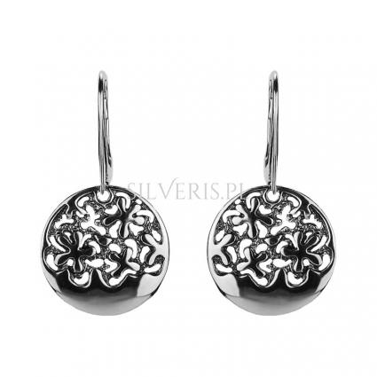 Kolczyki srebrne okrągłe kwiatuszki