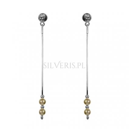 Kolczyki srebrne wiszące perełki