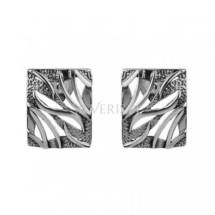 Kolczyki srebrne prostokąty ażurowe