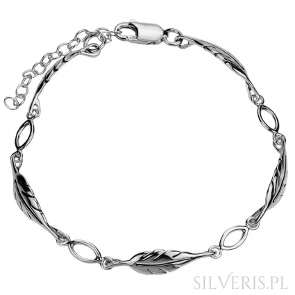 Brasoletka srebrna Listki