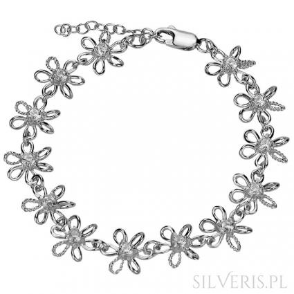 Bransoletka srebrna Kwiaty Cyrkonia