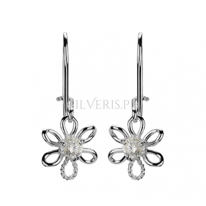 Kolczyki srebrne Kwiaty Cyrkonia
