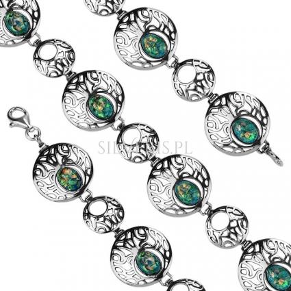Bransoletka srebrna z Opalem Zielonym