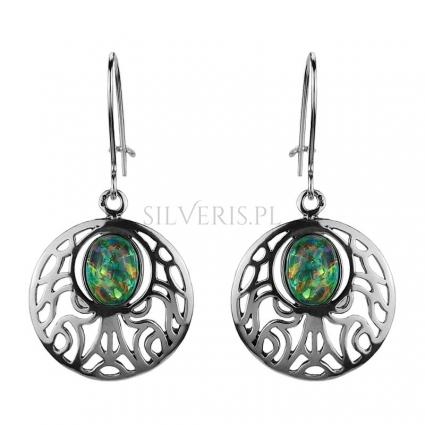 Kolczyki srebrne z Opalem Zielonym