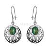 Kolczyki srebrne Opal Zielony