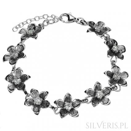 Bransoletka srebrna Kwiaty Cyrkonie