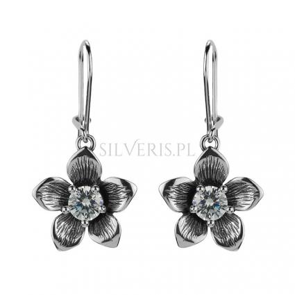 Kolczyki srebrne Kwiat z Cyrkonią