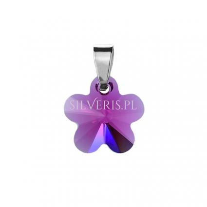 Zawieszka srebrna Swarovski Flower Fuchsia
