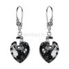 Kolczyki srebrne z kryształami Swarovskiego Heart Crystal Light Chrome
